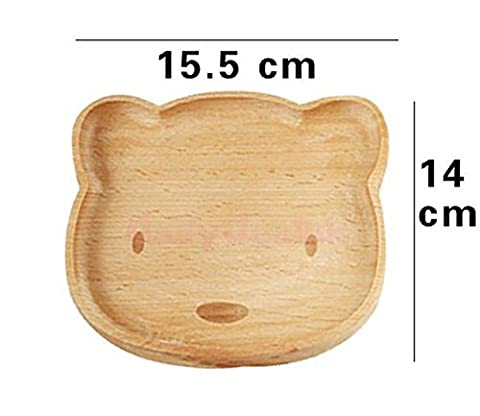 Homespun Wooden Serving Plate Bear Natural Wood Divided Dishes 6.10 X 5.51 Inches For Kids Gift