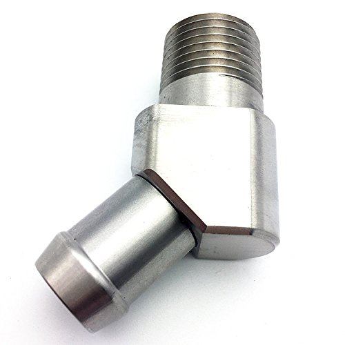 JSD 1041 Stainless Steel 45 Degree Heater Hose Fitting 1/2' NPT to 5/8' Barb JSD AUTOPARTS
