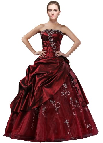 Embroidered Strapless Gown - DLFashion Strapless A-line Embroidered Taffeta Prom Dress L-12 Burgundy