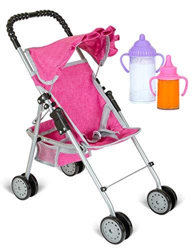 fash n kolor My First Doll Stroller with Basket - Denim Pink Foldable Doll Stroller - Fits Upto 18 Dolls, 2 Free Magic Bottles Included
