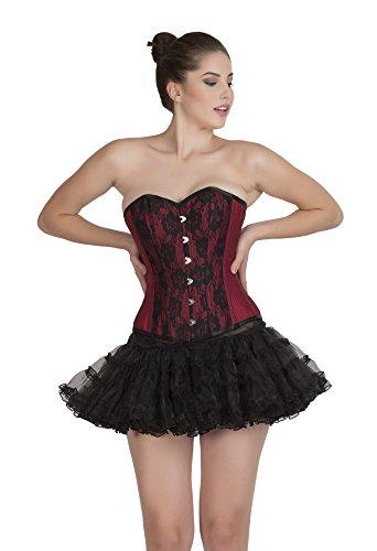 ラベオピエートりんごRed Lining Poly Cotton & Black Net Overbust Tissue Tutu Skirt Corset Goth Dress