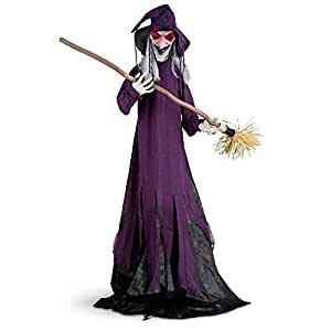 5-1/2 Foot Sound Activated Animated Halloween Witch With Broom