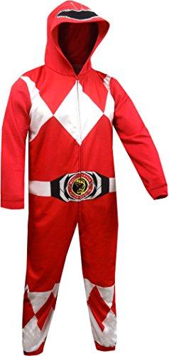 Power Ranger Men's Red Ranger One Piece Pajama, S/M -