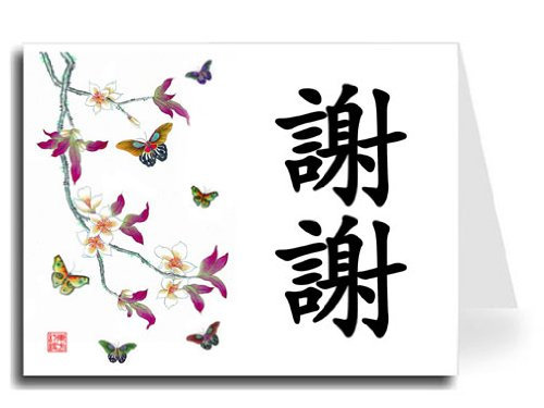 (Oriental Design Gallery Traditional Chinese Calligraphy with Butterflies Thank You Card Set, Xie Xie in Black, Set of)