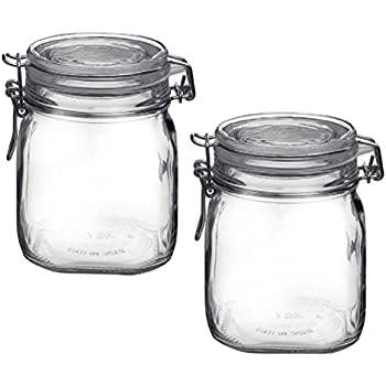 Bormioli Rocco Fido Clear Glass Jar with 85mm Gasket, .75 Liter (Pack of 2)
