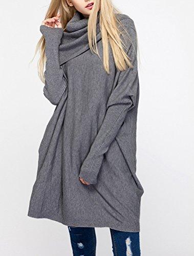 Vogstyle Mujer 2017 Otoño / Invierno Nuevo Long Sleeve Soft Rib Knit Jumper Gris