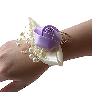 Hoxekle Wedding Wrist Flowers Artificial Flower for Bridal Bridesmaids Wrist Corsage Girls Hand Rose Flower Decor for Ceremony Party Prom Wedding Pack of 2 19