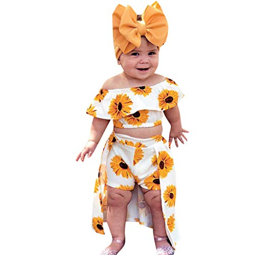 Vanvler -Kids Dress Summer Baby Girl Outfits  Toddler Off Shoulder Sunflower Print Tops+Skirt Pantskirt 3pcs Set Headbands Gift  (90:12-18 Months, Yellow) ()