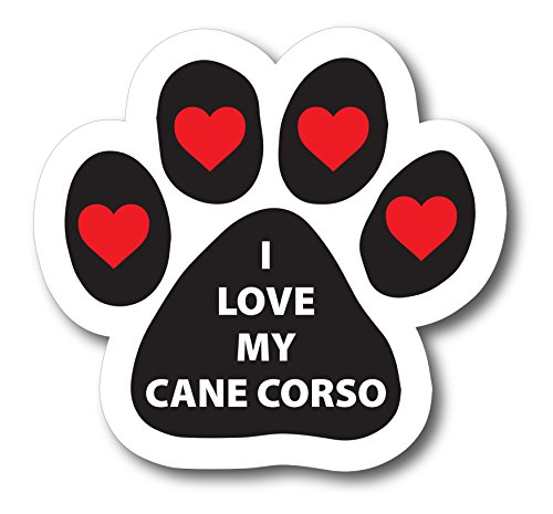 Magnet Me Up I Love My Cane Corso Pawprint Car Magnet Paw Print Auto Truck Decal ()