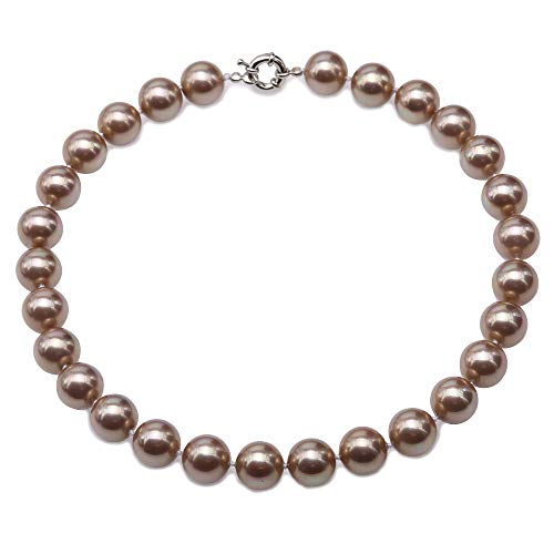 JYX Pearl Necklace 14mm Genuine Champagne South Sea Shell Pearl Necklace Round Beads Necklace for Women 18 inch