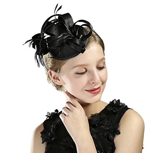HÖTER Fascinators Hat For Women Feather Headband Wedding Tea Party Hat