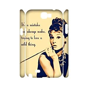 Audrey Hepburn Quotes Unique Design 3D Cover Case for Samsung Galaxy Note 2 N7100,custom cover case ygtg-780418
