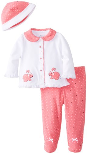 Little Me Baby-Girls Newborn Bunny Heart Take Me Home Set, Pink/Multi, 3 Months