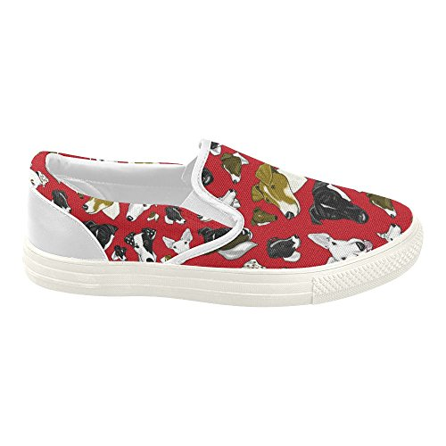 D-Story Custom Smooth Fox Terrier Red/Whit Womens Slip-on Canvas Shoes Fashion Sneaker ZrX3KaV