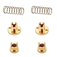 2pcs T8 2mm Lead Anti Backlash Spring Loaded Brass Nut for 2mm Acme Threaded Rod Screws 3D Printer from Sun3Drucker