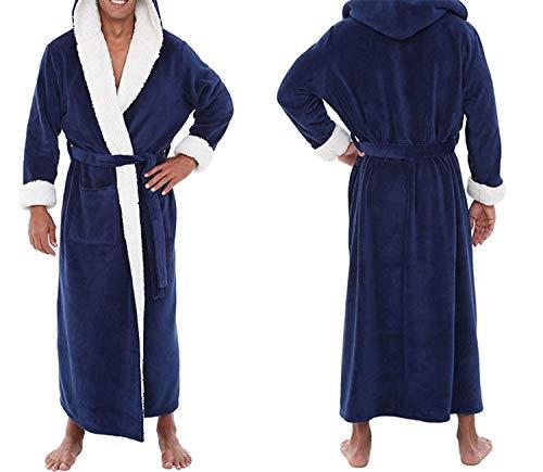 Maniche Allungato pt Accappatoio A Caldo Large Home Lunghe Plush Notte Coat Vestiti Scialle Robe Da Solid Uomo Black Camicia Size Inverno Z0HwSw