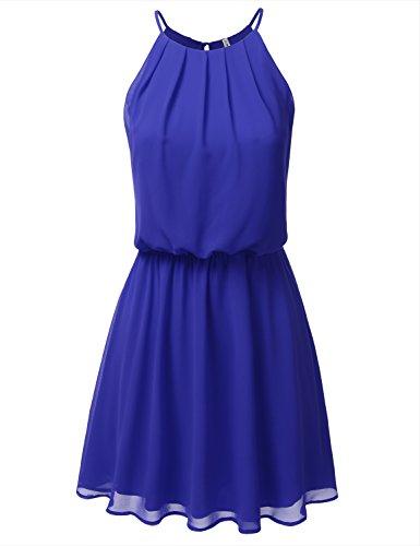 (JJ Perfection Women's Sleeveless Double-Layered Pleated Mini Chiffon Dress RoyalBlue XL )