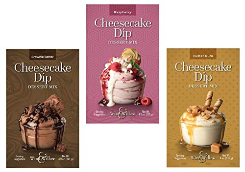 Gourmet Cheesecake Dip and Dessert Mix Trio - Brownie Batter, Raspberry, & Butter Rum