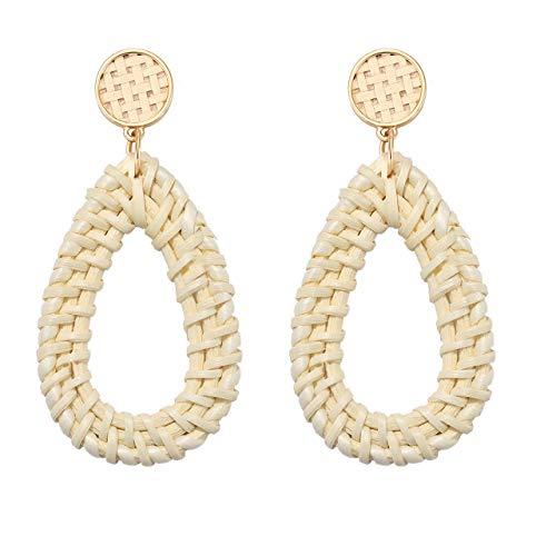 JYM JEWELRY Straw Rattan Earrings Bohemian Teardrop Earrings Handwoven Weave Round Drop Dangle Earrings Lightweight Geometric Hoop Earrings with Disc ()