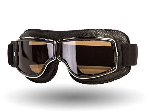 IV2 Classic, Leather Motorcycle Goggles | Helmet Compatible, Extra Long Adjustable Strap (Black Leather/Smoke Lens)