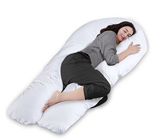 Queen Rose 65' Pregnancy Pillow- Full Body Pillow-U Shaped Maternity Pillow for Pregnant Women with Washable Outer Cover (White)