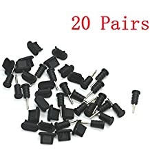 IDS 20 Pairs Silicone Anti-Dust Plugs for iPhone 5, 5s, 5c, 6, 6s, iPad Mini, Air (Black)