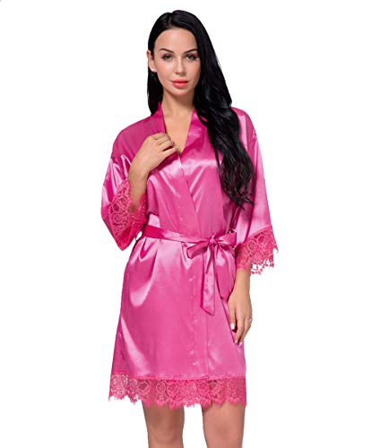 Women's Satin Silk Robe in Lace Stitching Sexy V-Necked Pajamas Kimono Nightgown Bridesmaids Sleepwear (Rose red, -