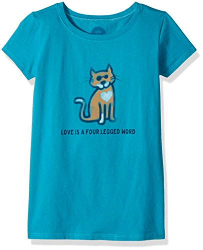 (Life is good Girls Tee Four Legged Word, Cool Turquoise, Small)