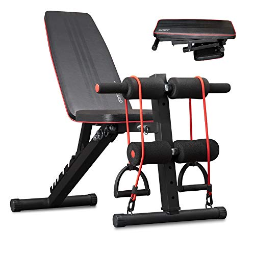 arteesol Weight Bench – Adjustable Weight Bench Workout Bench Exercise Bench with Elastic Strings for Full Body Training…