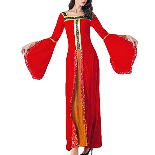 LOKODO Women Halloween Dress Cosplay Medieval Retro Long Sleeves Costume Play Long Dress Make up Party Dress Red XL
