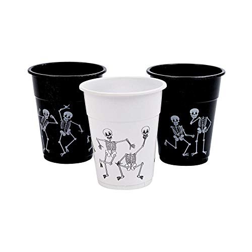 Halloween Skull Ideas (Skeleton Printed Disposable Cups (16 oz - 50 cups) Halloween Party)