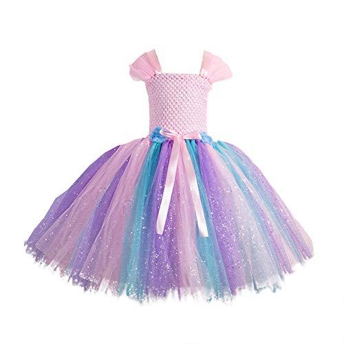 Donsinn Rainbow Tutu Dress - Sequin Tulle Princess Party Dress