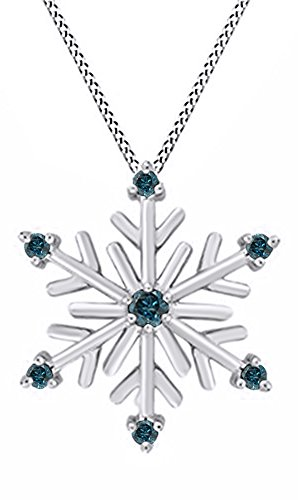Jewel Zone US Blue Natural Diamond Snowflake Pendant Necklace 14k White Gold Over Sterling -