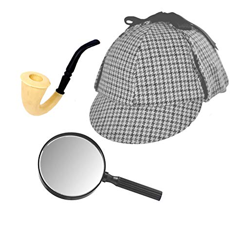 (Sherlock Holmes Houndstooth Detective Hat With Costume Pipe & Magnifying Glass)