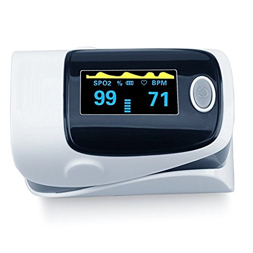 Finger Pulse Oximeter, FDA Approved Portable Digital Blood Oxygen and OLED Pulse Sensor Meter with Alarm SPO2 for Adults and Children (Grey) ()