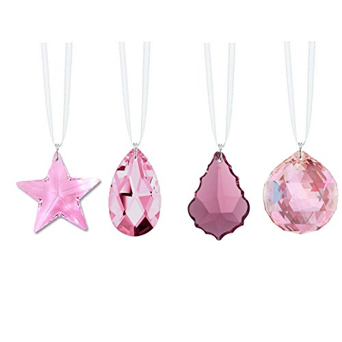 Swarovski Strass Crystal Rosaline Light Pink Prisms 4 Pcs Crystal Sun Catcher Ornaments Package Deal