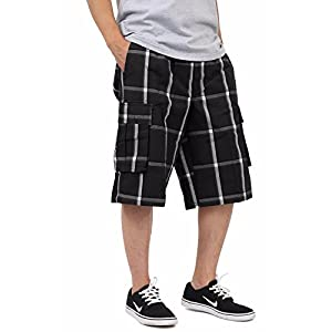 Shaka Wear Men's Relaxed Fit Plaid Cargo Shorts S~5XL