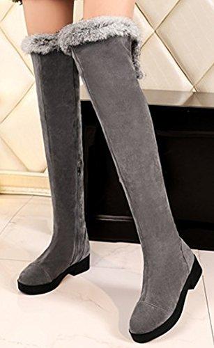 Idifu Mujeres Warm Faux Fur Cremallera Lateral Sobre La Rodilla Botas Altas De Nieve Botines De Invierno Low Heels Gris