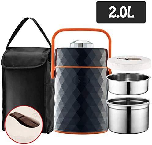 SBWFH 断熱弁当事務員断熱バケット弁当箱ふた分離付き多層ポータブルステンレス鋼 (Color : Black)