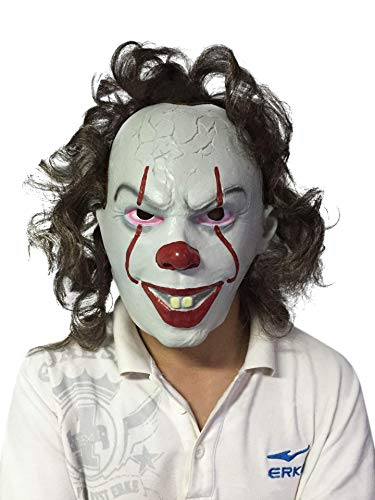 Nuoka Latex Halloween Party Costume Cosplay Props Scary Clown Mask with Hair (Picture -