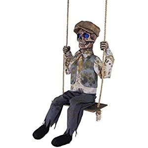 talking skeletal boy on swing animated halloween prop