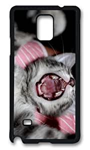 MOKSHOP Adorable cute kitten yawn Hard Case Protective Shell Cell Phone Cover For Samsung Galaxy Note 4 - PCB