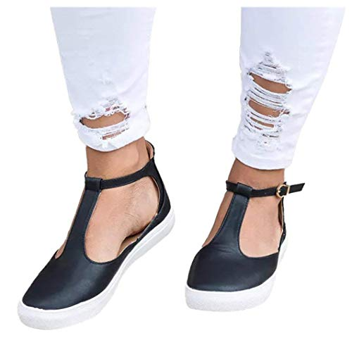 - GOUPSKY Mary Jane Shoes Women Slip On Loafers Casual Sneakers Buckle Round Toe Leather Vintage T-Strap Flat Sandals Black