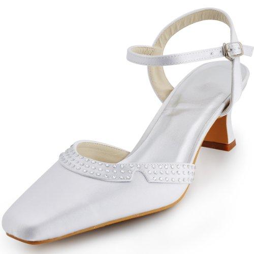 ElegantPark EP11033 Mujer Punta Quadrata Bloquear Heel Rhinestones Hebillas Satén Fiesta Zapatos de Boda Ivoire