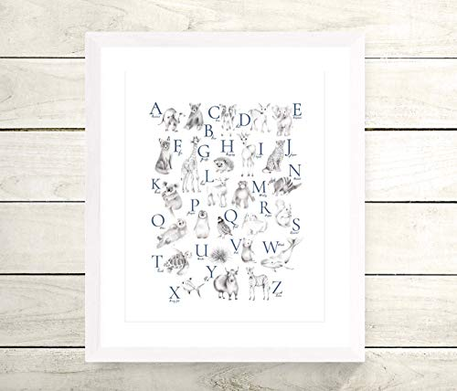 - Animal Alphabet Print in Grey, Accent Color Options, UNFRAMED PRINT