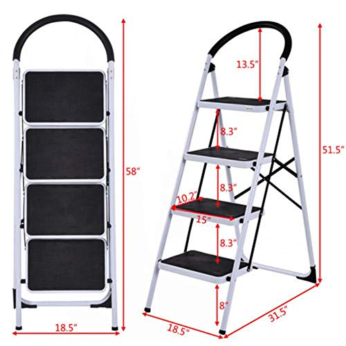 MY HOPE Ladder Fordable Heavy Duty Supported load 330 Lbs 4 Step Industrial Lightweight. by MY HOPE (Image #3)