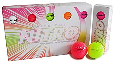 Long Distance Peak Performance Golf Balls (15PK) All Levels-Nitro White Out 70 Compression High Velocity White Hot Core Long Distance Golf Balls USGA Approved-Total of 15-Multi-color (Renewed)