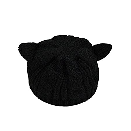 Drawihi Woolen de Barett de Invierno con Capucha de koreanische Versi/ón de Orejas de Gato Lana Sombrero gestrickten Sombrero Sombrero Caliente 54~58cm Amarillo Lana