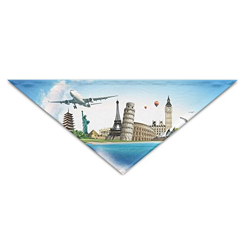 Jingclor Pet Triangle Bandana Sea Airplane Famous Buildings Washable Dog Puppy Scarf Bib Babys Neckerchief - Airplanes Famous