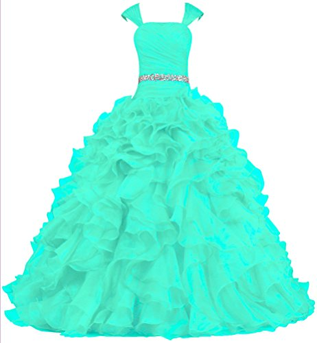 Unbranded* Women's Cap Sleeve Ball Gown Prom Dresses Ruffle Quinceanera Dress Size 2 US Mint